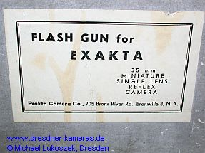 Flash-Gun-Blitzleuchte der Exakta Camera Co. New York