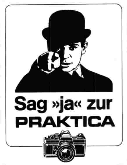 Praktica-Werbeaufkleber der 1980er Jahre