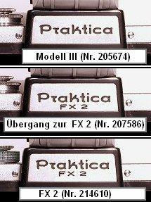 verschiedene Schilder im Übergangsbereich von der Praktica Modell III zur Praktica FX 2