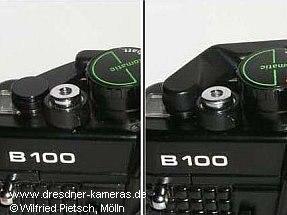 Praktica B100 (genoppter Bezug) - 1. Version mit Metall-Schnellspannhebel (links) und 2. Version mit Kunststoff-Schnellspannhebel (rechts)