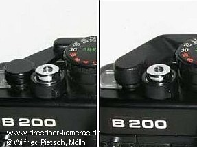 Praktica B200 - 1. Version mit Metall-Schnellspannhebel (links) und 2. Version mit Kunststoff-Schnellspannhebel (rechts)