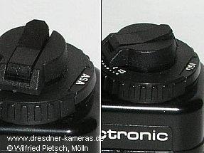 Praktica BCA - Variante der Kennzeichnung der Filmempfindlichkeit in ASA (links) und Variante in ISO (rechts)
