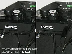 links: Praktica BCC, Version ohne Abblendtaste; rechts: Praktica BCC, Version mit Abblendtaste
