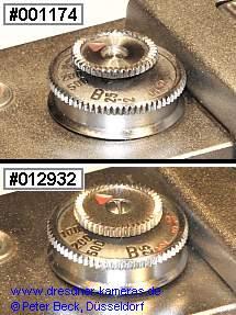 oben: Umschaltknopf ohne Befestigungsschraube; unten: Umschalter mit Befestigungsschraube