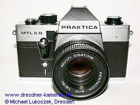 Praktica MTL 5 B mit Pentacon auto 1,8/50 (erste Version mit Zeitenknopf aus schwarz eloxiertem Aluminium)