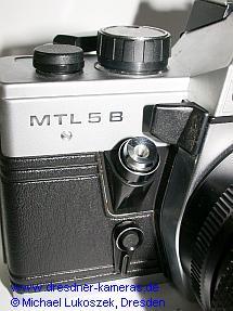Praktica MTL 5 B (späte Version mit Zeitenknopf und Auslöser für Vorlaufwerk aus schwarzem Kunststoff)