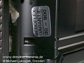 Praktica B 200 with Beroflex-warranty-sticker(here: sales-office Bad Kissingen, sales-year 1980)