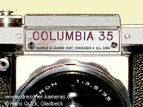 COLUMBIA 35 (Praktica FX) Distributor Burke & James, Chicago