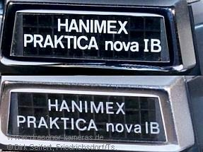 Hanimex Praktica nova IB (versions with different lettering)