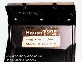 "Praktica nova SP. F. SWITZERLAND with sticker ""Hausamann & Co. AG"""
