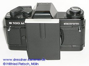 Praktica B 100 M with attachment for dedicated microscopes