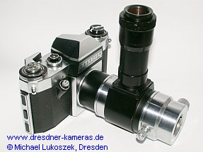 Praktica nova on photomicrographic equipment (mf) of Carl Zeiss Jena (version for the eyepiece socket of microscopes, diameter 25 mm)